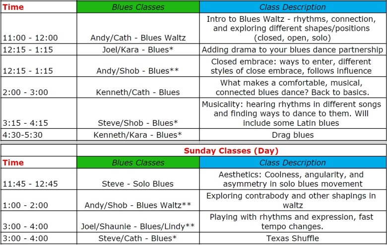 Blues Class Schedule