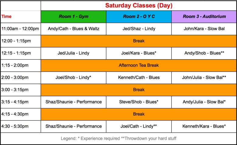 Saturday 2018 Schedule