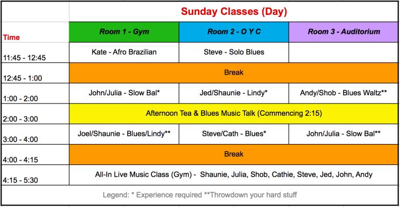 Sunday 2018 Schedule